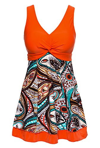 Wantdo Womens Plus Size Swimsuits With Skirted Bottom, LilyOrange, 2XL US 12 (EU 5XL)