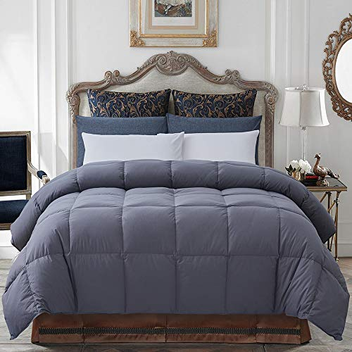 Decroom 100% Cotton Quilted Down Comforter Grey with Goose Duck Down Feather Filling-Lightweight and Hypoallergenic Duvet Insert- Grey Twin