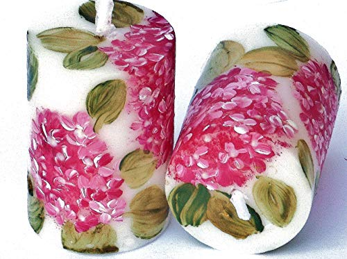 Set of Two Hand Painted Pink Hydrangea Flower Small Votive Candles Shabby Chic Floral Spring Decor Decorations ()
