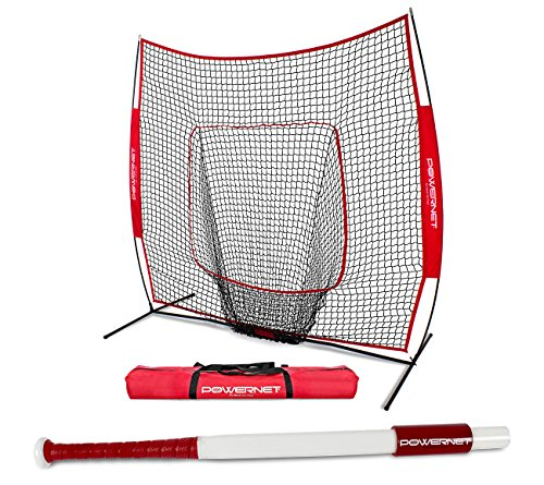 (PowerNet Baseball Softball 7x7 Practice Net + Sweet Spot Bat Bundle (31