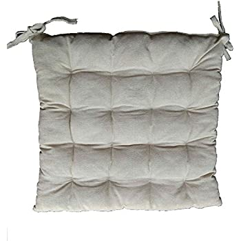 Chair Pads 16X16 Inches Square Tufted Seat Cushions Indoor Pillows With  Ties (18X18, Beige