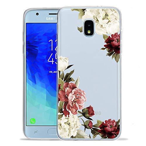 for Samsung Galaxy J3 2018 Case, J3V J3 V 3rd Gen, Express Prime 3, J3 Star, J3 Achieve, Amp Prime 3, Ueokeird Slim Shockproof Clear Floral Pattern Soft Flexible TPU Phone Cover (Blossom Flower)