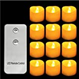 OxoxO 1.4''x 1.4'' 96PCS Yellow Light Flickering Flameless LED Candles Tea Light Battery Operated Wave Open With 2-Key Remote Control