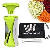 Best Spiralizer Vegetables Slicer 4 Interchangeable Stainless Steel Blade | 4 Julienne Cuts Spiralizer, Slicer, Shredder, Ribbons, Zoodles | No-Slip Grip Handheld Cleaning Brush | Dishwasher Safe