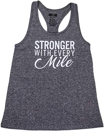 (Stronger with Every Mile Women's Running Tank Top - Loose Fit Tri Blend Racerback (Grey, Medium))