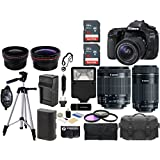 Canon EOS 80D 24.2MP Wi-Fi Digital SLR Camera with 18-55mm IS STM + Canon EF-S 55-250mm IS STM Lens + SanDisk 32GB & 16GB Card + Case + Flash + Grip + Tripod + Filter Kit – 48GB Accessories Bundle