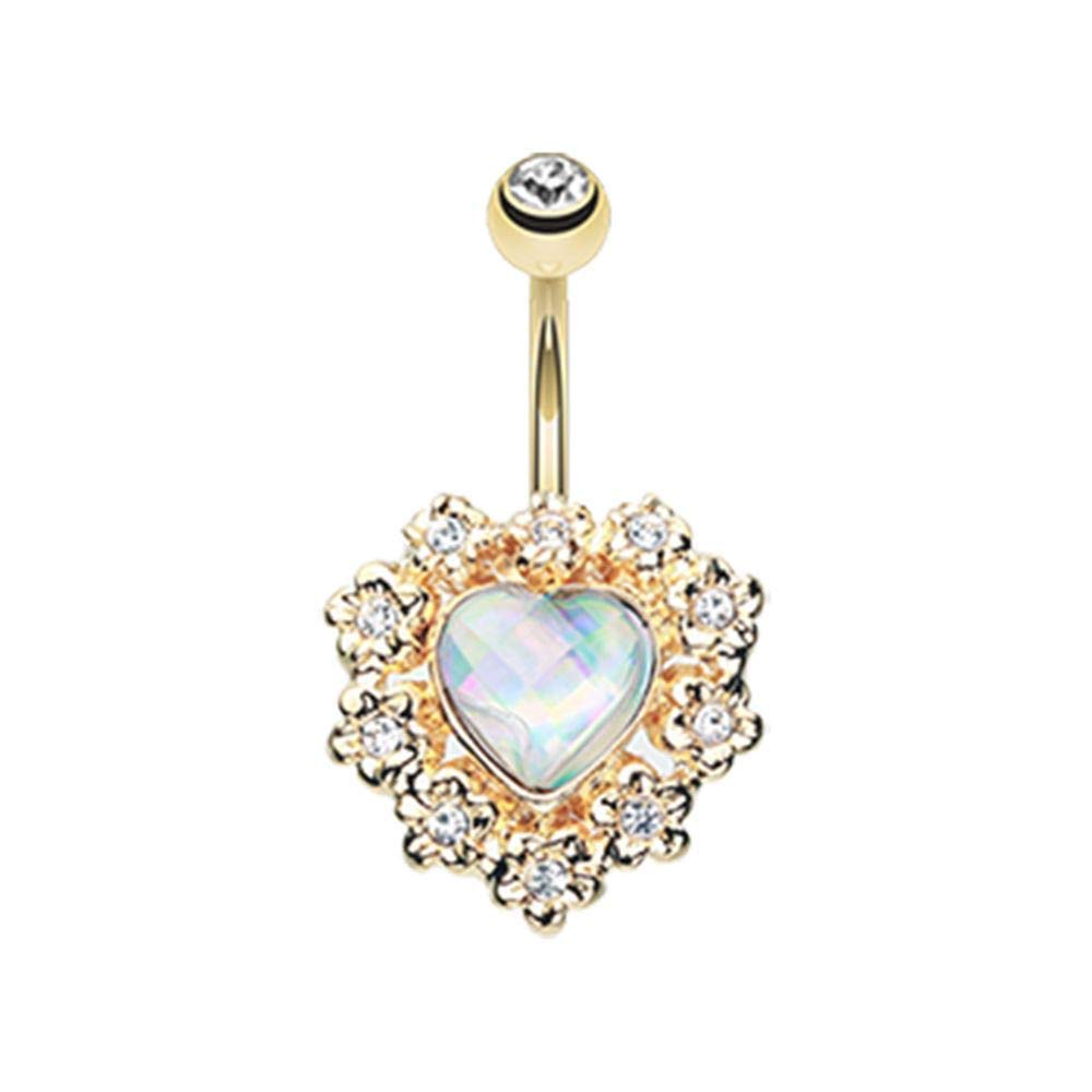 Covet Jewelry Golden Sparkle Heart Flower Belly Button Ring