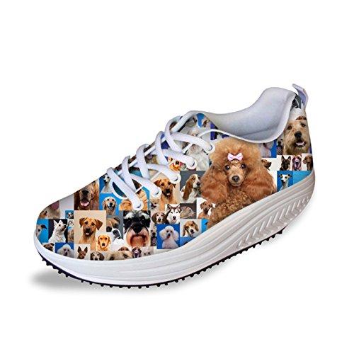 Dellukee Fashion Womens Sneakers Dog Pattern Printed High Heel Casual Walking Shoes Dog 2 Hz1d3ZYYjj