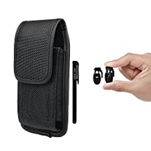 Mobile Phone Holster, xhorizon TM SR Heavy Duty Nylon Carrying Cell Phone Case with Metal Belt Clip Holstor Pouch for iPhone5/5S/5C-(fits with single layer protector/slim skin already on the phone)