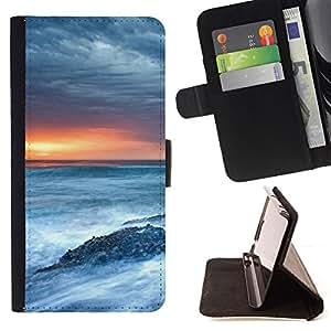 BullDog Case - FOR/Samsung Galaxy S5 Mini, SM-G800 / - / Nature Sea Swirls /- Monedero de cuero de la PU Llevar cubierta de la caja con el ID Credit Card Slots Flip funda de cuer