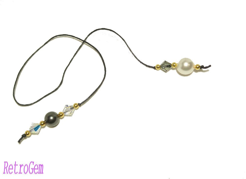 RetroGem White/Black Crystal Pearl Book Thong Bookmark Made With Swarovski Elements Crystal Pearl #164 (White/Black)