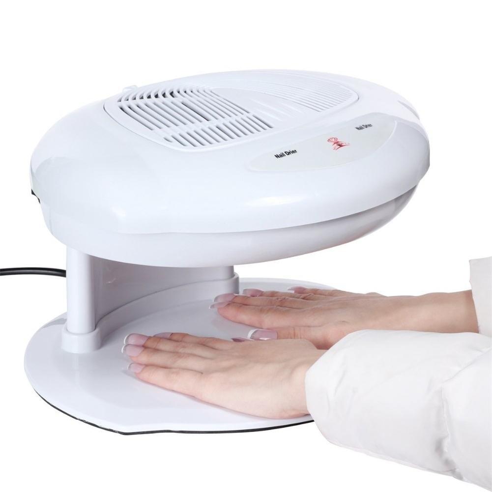 Secadora de u/ñas Ventilador Viento caliente y fr/ío Soplador de aire de u/ñas Herramienta de manicura Sal/ón Profesional Infrarrojos Autom/áticos Sensores dobles para secar el esmalte de u/ñas Blanco