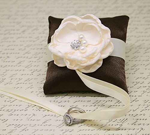 Wedding Dog Ring Pillow - Brown and Ivory Ring Pillow attach to Dog Collar, Ring Bearer, Proposal Idea, Floral