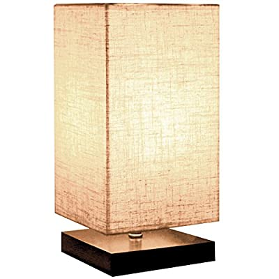 "Minimalist Beside Table Lamp, Minerva Japanese Style Wood Table Lamp Beside Desk with Solid Fabric Shade for Bedroom, Living Room, College Dorm and Home Decoration - Square - Size: 6.3""(L)*6.3""(W)*12.6""(H). The Cord length is 1.6m( 5.24ft), the switch distance from the base is 25cm(0.82ft). E27 bulb base (bulb not included). Max 40 watt bulb, compatible for 120V. There is an on / off switch in the middle of the cord, UL plug, safe to use. Linen Flaxen Fabric shade and wood stand with Non-slip mat design. - lamps, bedroom-decor, bedroom - 51flqCN5hSL. SS400  -"
