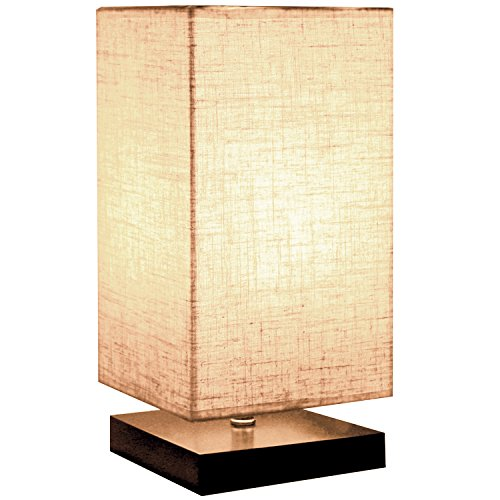 Minimalist Beside Table Lamp, Minerva Japanese Style Wood Table Lamp Beside Desk with Solid Fabric Shade for Bedroom, Living Room, College Dorm and Home Decoration - Square
