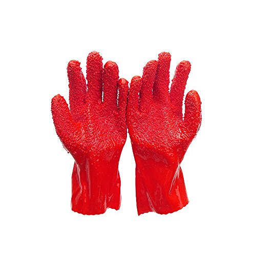 YOUDirect Peelers Glovers - 1 Pair Non-slip Gloves to Quick Fruits Vegetable Potato Skins Processing Tools Clean PVC Peeling glove Kitchen Gadget (Red/Orange)