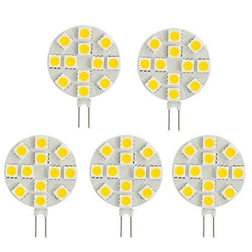 HERO-LED  SG4-12T-DW Side Pin G4 LED Disc Halogen Replacement Bulb, 2.4W, 20-25W Equal, Daylight White 5000K, 5-Pack(Not Dimmable)