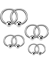 Captive Bead Piercing Ring Kit 16G Stainless Steel Nose Tragus Lip Nipple Belly Rings 8PC