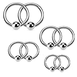 16G Steel Captive Bead Piercing Ring Kit Hoop for Nose Lip Eyebrow Nipple