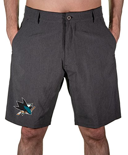 NHL Mens 4-Way Stretch Performance Short (San Jose Sharks, Large)