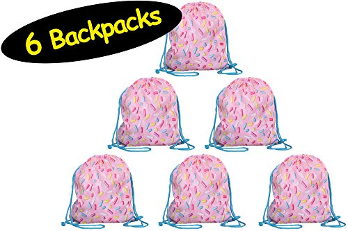 (Sprinkles Party Favor Drawstring BACKPACKS - not just a pouch // Donut Party Favors Pink Party Bags // Baking Dessert Sweets Girly Goodie Gift Bags Girls Birthday Sleepover Spa Sports, 6 Pack, 12