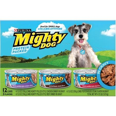 Purina Mighty Dog Small Food, Hearty Pulled-Style Variety Pack 12-5.5 oz. Cans (4 each: Chicken Dinner, Hearty Pulled-Style Beef Dinner, and Porterhouse Steak Flavor) - Mighty Dog Beef
