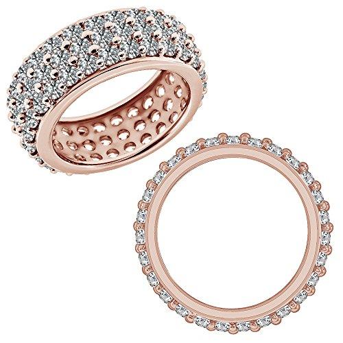 2.75 Carat GH Diamond 3 Line Full Eternity Anniversary Wedding Band Bridal (2.75 Ct Heart Diamond)