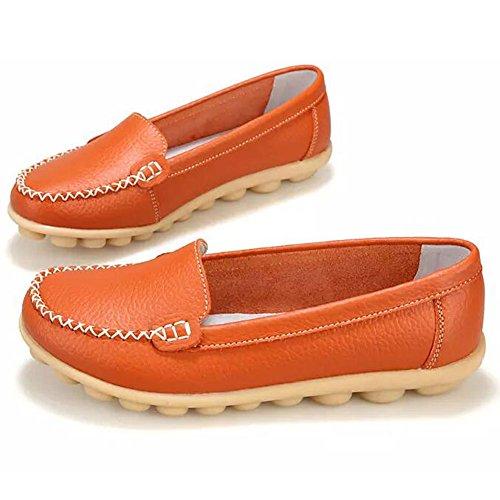 Damen Mokassin Casual Slipper Flatschuhe Low-top Schuhe Erbsenschuhe Leder Fahren Halbschuhe Slippers Orange