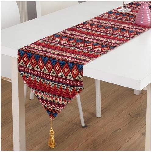 FTI-Colchonetas Azul/Rojo Table Runner Fiestas de cumpleaños Bodas Mantelería Mesa de Comedor Mantel de Lino Bordado (Color : Rojo, Tamaño : 30 * 220cm): Amazon.es: Hogar