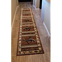 Lodge Western Area Rug Design 370 Brown (2 Feet 4 Inch X 10 Feet 9 Inch) Runner