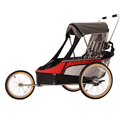 WIKE Premium Double 3 in 1 Bicycle Trailer + Strolling + Jogging - Red/Gray