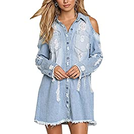 Sibylla Womens Cold Shoulder Ripped Distressed Denim Shirt Dress Long Sleeve Button Down Chambray Blouse(PLS Size Down)