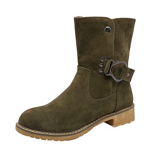 Mee Shoes Women's Charm Slip On Block Low Heel Round Toe Short Boots Green hCj6kGUa4