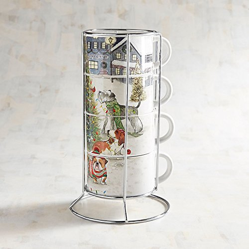 NEW 4pc STACKING PARK AVENUE HOLIDAY PUPPIES DOGS HOT BEVERAGE CUPS MUGS & WIRE RACK DECORATIVE