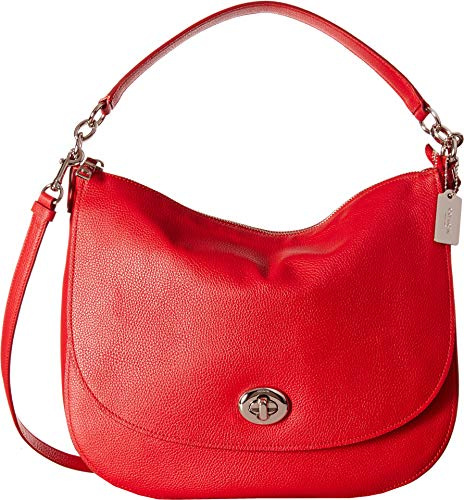 COACH Women's Pebbled Turnlock Hobo Sv/True Red One Size