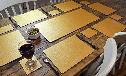 Leathercraft Artisan - Juego de Mesa de Comedor (Piel, 6 manteles Individuales, 6 Posavasos, Fabricado en el Reino Unido)