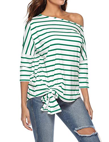 Primavera Casual Fashion Verde e Bluse Shirt Simple Maniche Camicie a 3 Obliquo Cime Spalla T Donne Righe 4 Maglietta Jumper Tops Giovane Autunno Moda 85qExgEd
