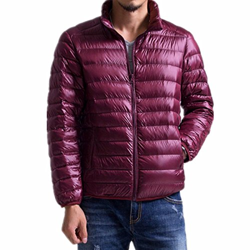 CHENMA Men Winter Stand Collar Lightweight Packaway Puffer Padded Down Jacket Outwear Coat Wine