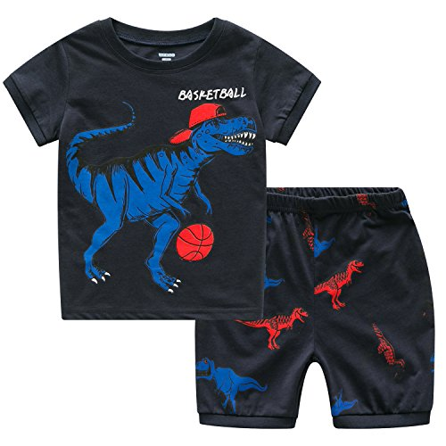 Toddler Boy Pajamas, Kid's PJ's Sets, Boys 100% Cotton Long Sleeved Sleepwear in Sizes from 12-24 Months to 7 Years (3T, NBA - Basketball Dinosaur)