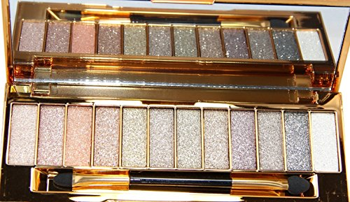 NandaBeauty 12 Colors Makeup Eyeshadow Palette Cosmetic Shimmer Glitter with Brush