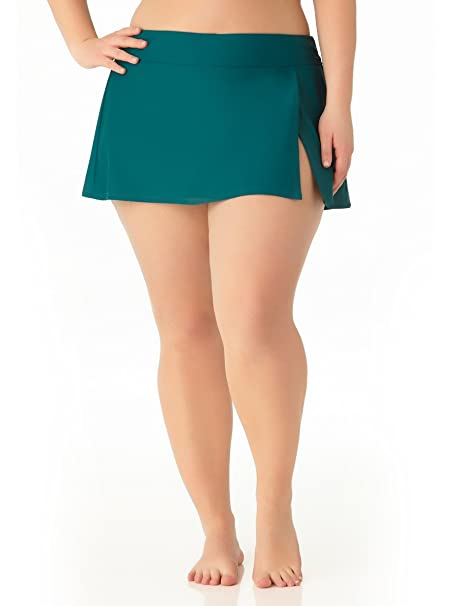 6970cea60927d Amazon.com  Catalina Women s Plus Size Teal Skirted Swim Bottom ...