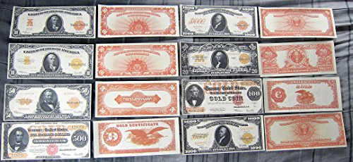 1907 $10 $10000 and 1922 $10 $20 $50 $100 $500 $1000 Gold Certificate (100 Gold Certificate)
