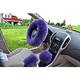 "W-ShiG Winter Warm Faux Wool Handbrake Cover Gear Shift Cover Steering Wheel Cover 14.96""x 14.96"" 1 Set 3 Pcs"