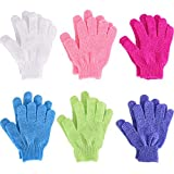 Hotop 6 Pairs Double Sided Exfoliating Gloves Body Scrubbing Glove Bath Scrubs