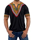 Runcati Mens African Shirts Print Dashiki Tees Short and Long Sleeve V Neck Ethnic Summer Tops Workout Blouses