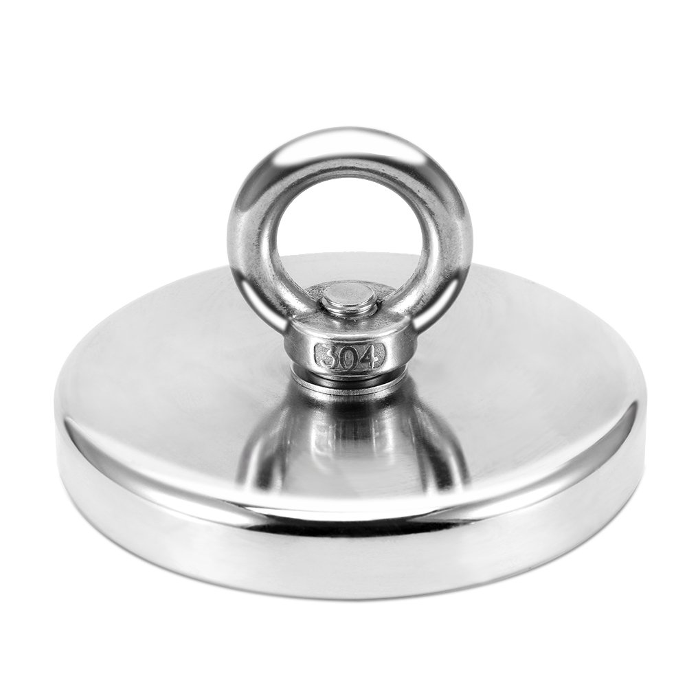1000 LBS Pulling Force,Super Strong Neodymium Fishing Magnets with countersunk Hole Eyebolt Diameter 4.72 inch(120mm) for Magnetic Fishing and Retrieving in River