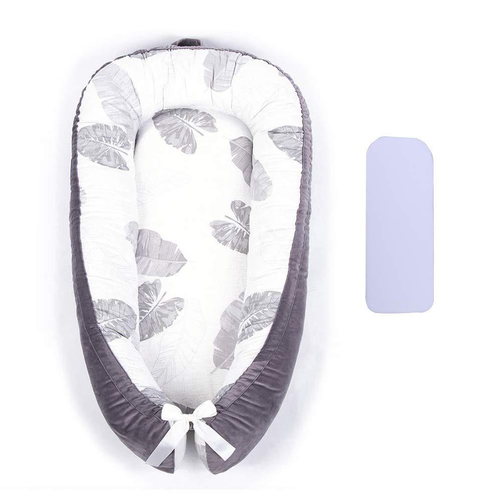 Portable Crib Baby Portable Lounger Infant Bassinet Reversible Co Sleeping Cribs for Bedroom Travel Gray