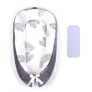 Portable Crib Baby Portable Lounger Infant Bassinet Reversible Co Sleeping Cribs for Bedroom/Travel (Gray)…