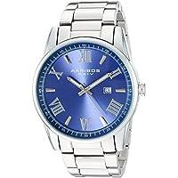 Akribos XXIV Men's Quartz Silver-Tone Case with Silver-Tone Accented Blue Dial on Silver-Tone Stainless Steel Bracelet Watch AK936SSBU