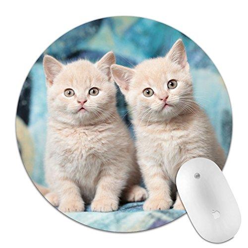 Alfombrilla de mouse redonda de goma antideslizante, cómoda alfombrilla de mouse para juegos y oficina, Gato